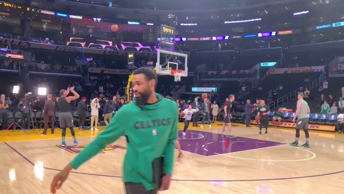 #Celtics warming up.   No better colors meshing than green, gold purple on a Sunday matinee game.