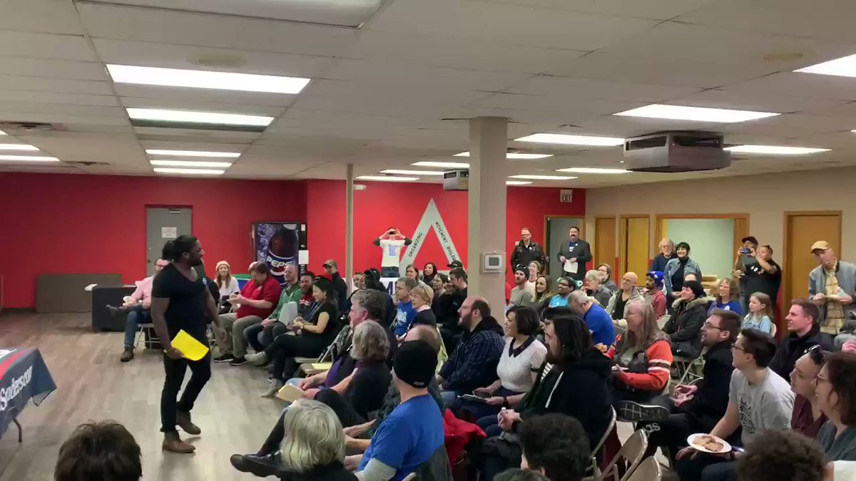 Packed house at the Labor for Bernie rally in Minnesapolis. Folks are fired up 🔥 #NotMeUs #BernieWon