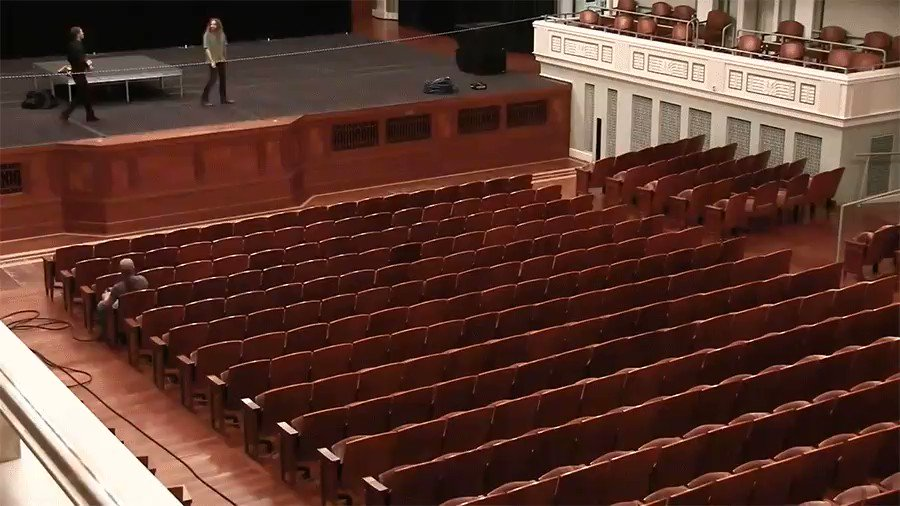 Watch how the seats of inside Laura Turner Concert Hall in Nashville change over to a flat floor. It takes about an hour and a half for this to happen late at night [full video: https://buff.ly/2Vk84zY]