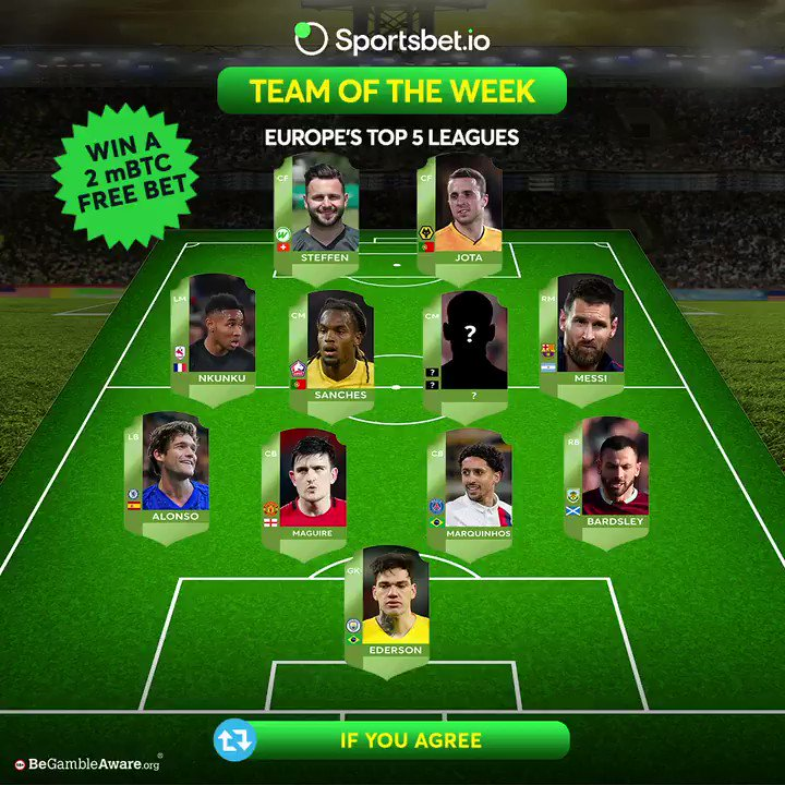 Presenting @Sportsbetio team of the week💥  🇧🇷- #Ederson 🇪🇸- #Alonso  🏴- #Maguire 🇧🇷- #Marquinhos 🏴- #Bardsley 🇫🇷- #Nkunku 🇵🇹- #Sanches 🇪🇺-❓  🇦🇷- #Messi 🇨🇭- #Steffen 🇵🇹- #Jota  🧩Complete this #TOTW lineup, retweet & stand a chance to win one of 2 2mBTC Free bet.  #football