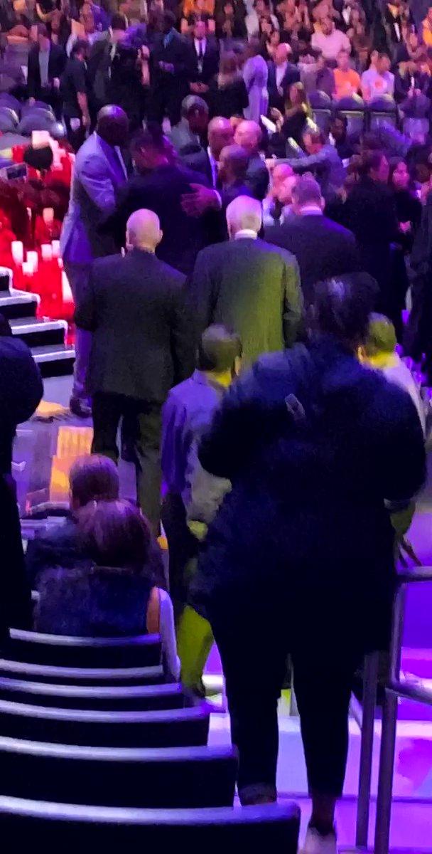 Magic Johnson hugging Tim Duncan & Greg Popovich , Tony Parker! Rich Paul , JaVale , Luke Walton, Tayshaun Prince, Boozer, Charles Oakley... etc... man literally everyone is pulling up!