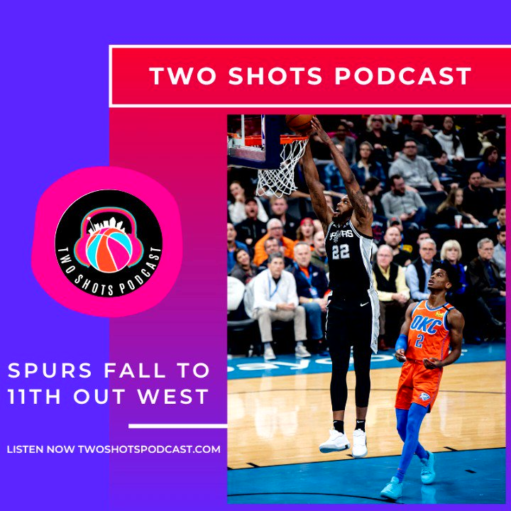 #SpursNation Listen to an all new #TwoShots Podcast with our guest @JeffGSpursZone as we talk about the #Spurs slipping to the 11th spot out West. #GoSpursGo   Listen Now      -