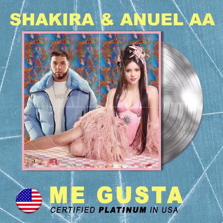 Hoy @shakira y @Anuel_2bleA brillan en platino 🤩💿 ¡Enhorabuena!