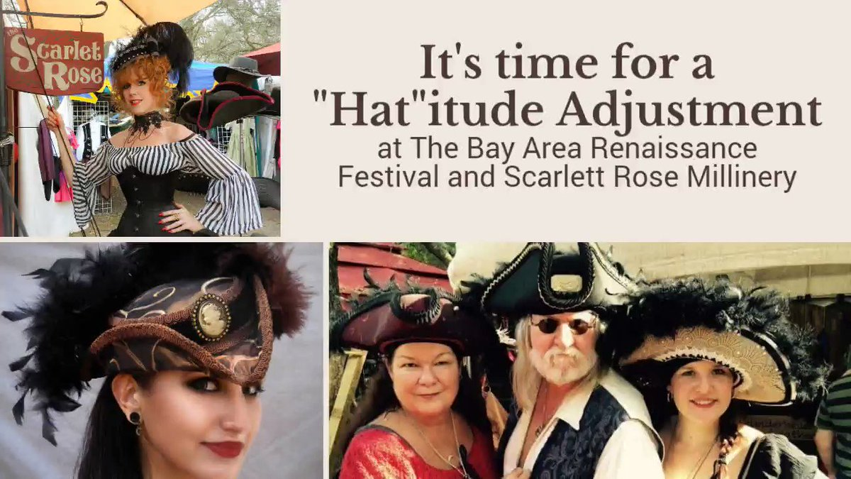 It's PUPS & PIRATES weekend at the Bay Area Renaissance Festival.  Come by the Scarlett Rose Booth to Find YOUR new Pirate hat. @bayarearenfest #renfaire #pirate #piratehat #piratecosplay #thescarlettrose #handmade   #hat #costumedesign #costumer #vintagefashion #tallships