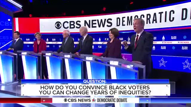 """.@TomSteyer calls for reparations for slavery and a formal commission on race that will """"retell"""" the story of """"systematic, legal injustice, discrimination and cruelty"""" against African-Americans through U.S. history #DemDebate https://cbsn.ws/393G1bW"""