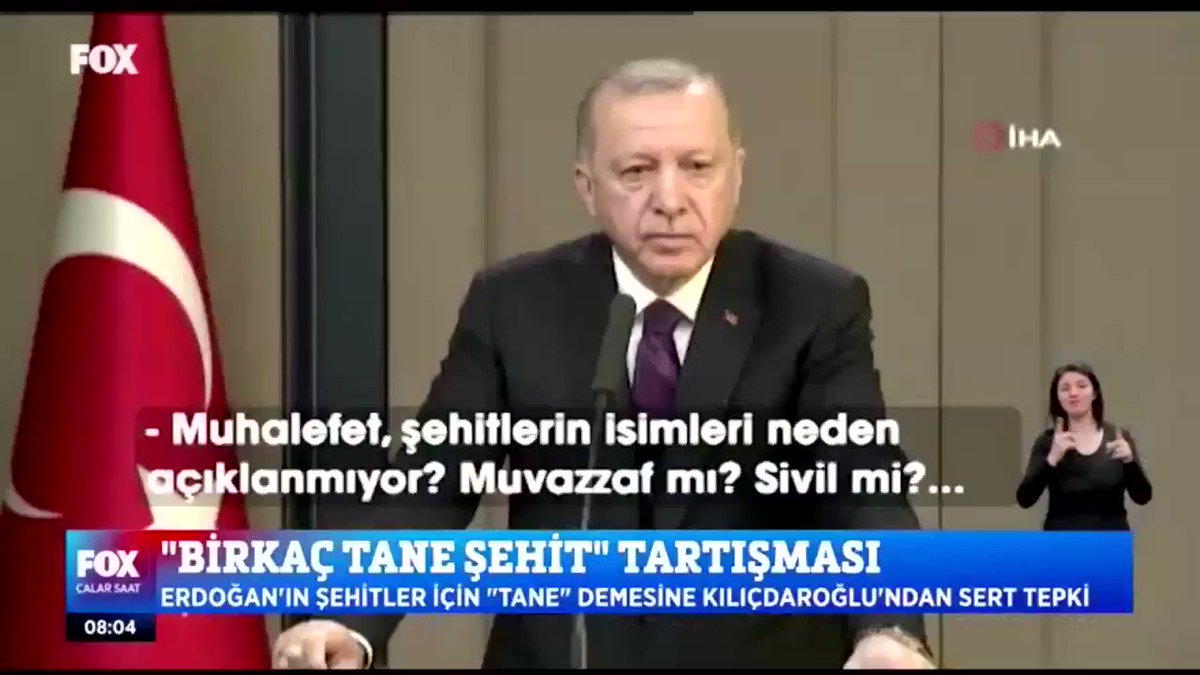 """""""Birkaç tane"""" şehit tartışması... Cumhurbaşkanı #Erdoğan kendi sözlerini soran #FOXHaber'i yalancılıkla suçladı. @KucukkayaIsmail ile #ÇalarSaat"""
