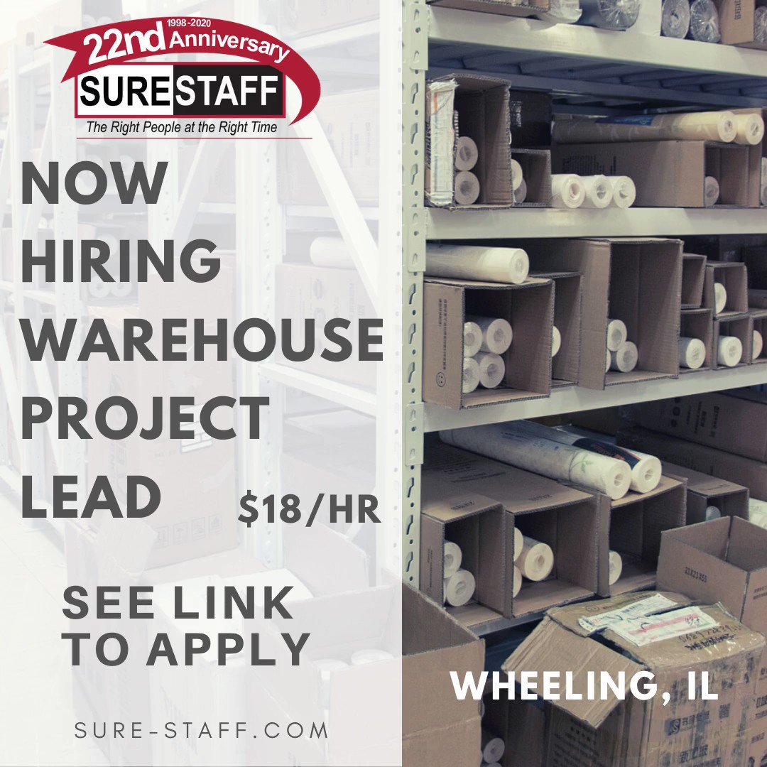 SEEKING:  WAREHOUSE PROJECT LEAD - $18/HR WHEELING, IL APPLY HERE:   An Independent Testing Laboratory is looking for a Project Lead to Package Testing Department.  #jobs #surestaffinc #wheeling #employment #staffing #warehouse #tempwork  #work #trabajos