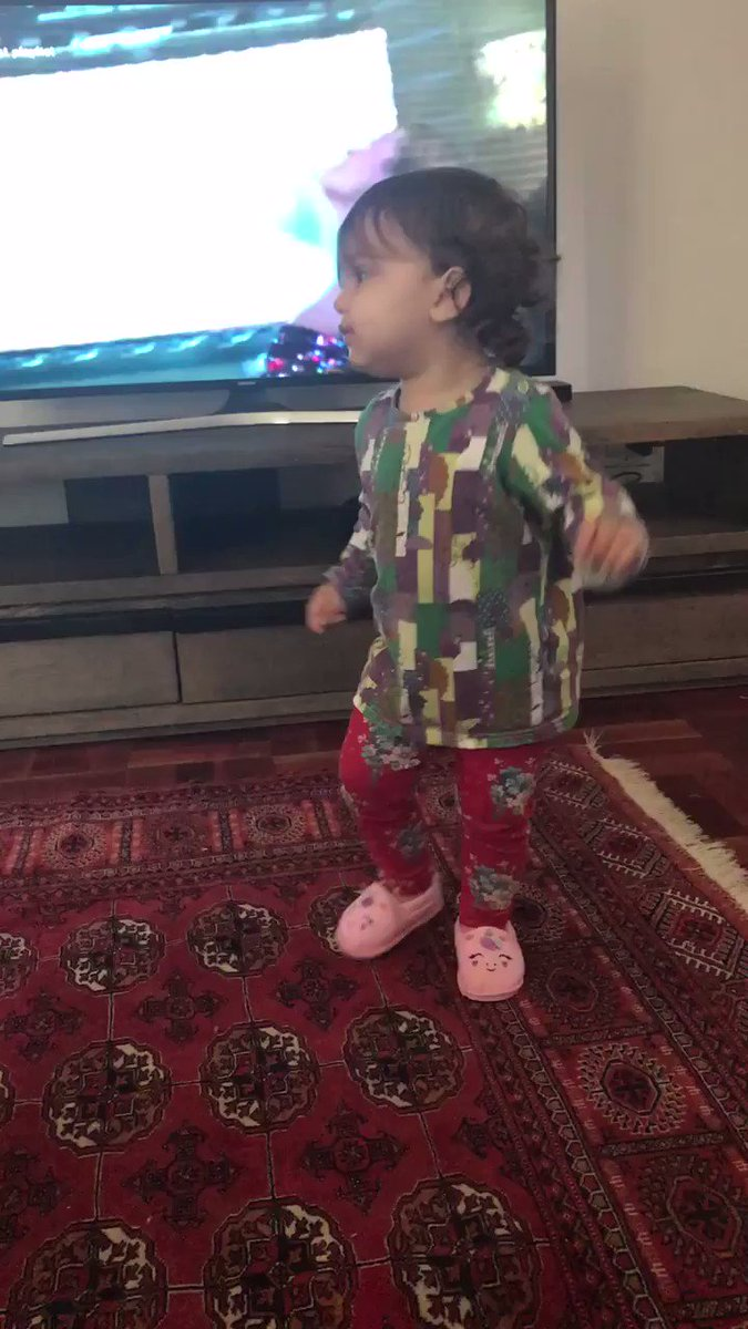 @RitaOra My 1 year old girl dancing to something familiar #dancingcharli