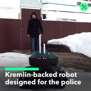 A prototype Russian #robot that patrols territory, throws a net on a suspect and releases a search #drone. Via @QuickTake   #robotics #AI #police #news #tech #startup #engineering #future #security #innovation #DeepLearning #datahacker #video