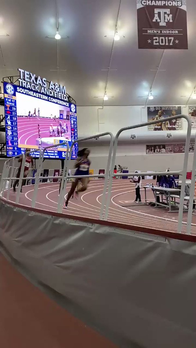 Turn 4 of the Women's 200m at the #SECITF20 Championship hosted by @aggietrk #ItJustMeansMore