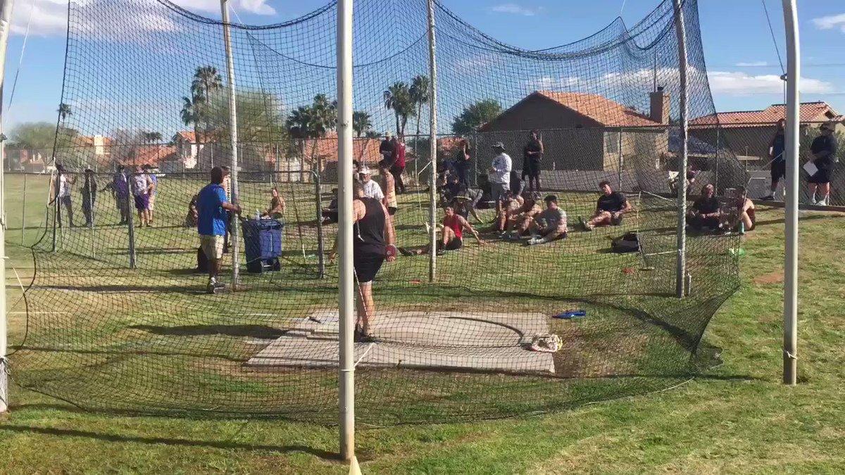 "Desert Ridge Thrower Zach Landa with a school record huge discus throw in first meet 195'7"""
