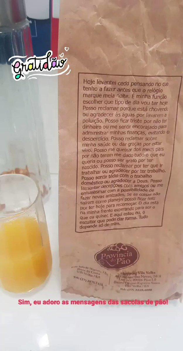 Sim, eu adoro as mensagens das sacolas de pão! #gratidao #hoje #provinciadopao #bomdia #paodequeijopic.twitter.com/hejWMaRVPH