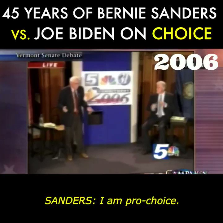 🚨NEW VIDEO📼: Over the last 45 years, Bernie Sanders has been a strong ally in the fight for women's reproductive rights while Joe Biden has repeatedly sought  middle ground with Republicans.
