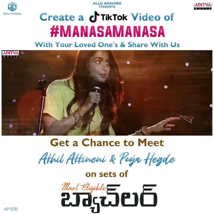 Start creating your version of #ManasaManasa using #MostEligibleBachelor and Tag @GeethaArts on @TikTok_IN!  Get a chance to meet @AkhilAkkineni8 & @hegdepooja on sets of #MEB   #BommarilluBhaskar @sidsriram @GopiSundarOffl #SurendraKrishna #BunnyVas #VasuVarma @adityamusic