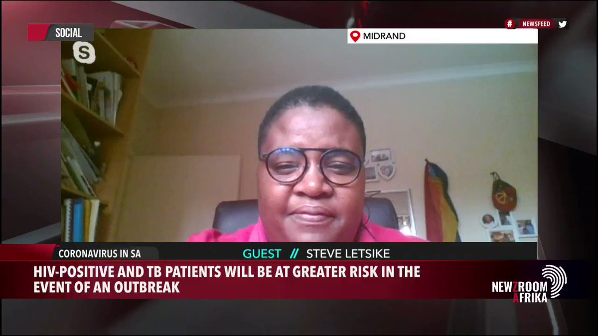 Watch the SANAC CSF Chairperson, Steve Letsike's interview on #NewzroomAfrika this morning where she talks about the Council's concerns for people living with HIV & TB in the wake of the ensuing #coronavirus (#COVID19) outbreak. @CsfSanac @HealthZA @nicd_sa