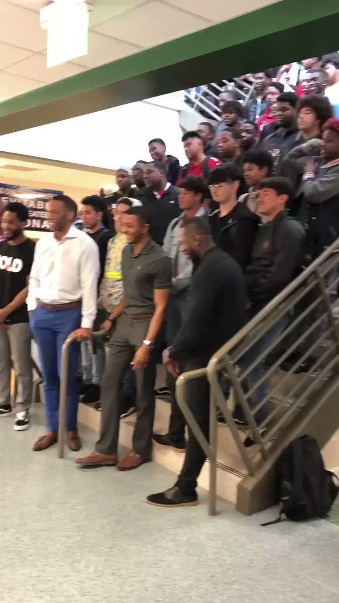 #BeyondTheGame tour at Worthing High school @HoustonISD! Great group of young men with great questions.