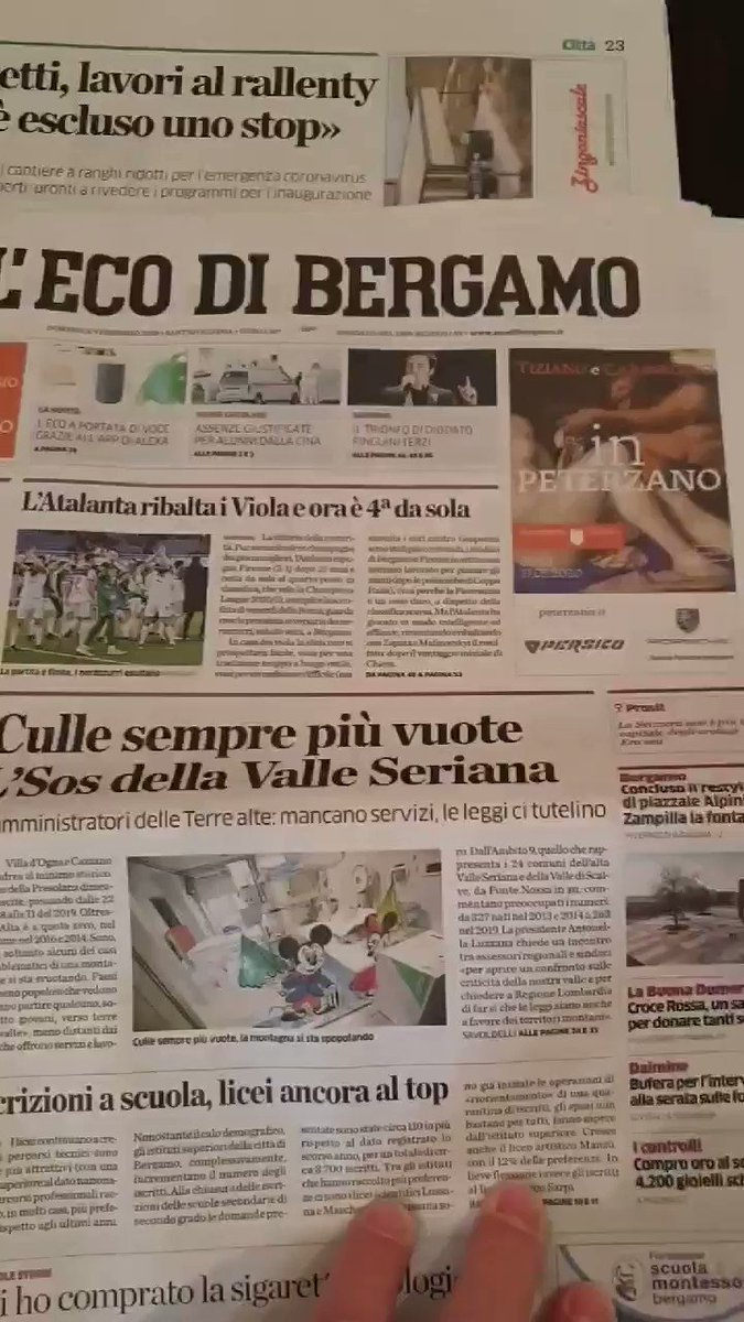 Graphs are useful but to really get what that rising curve is, have a look at the obituaries page of this Bergamo daily newspaper, comparing one from February with one from now