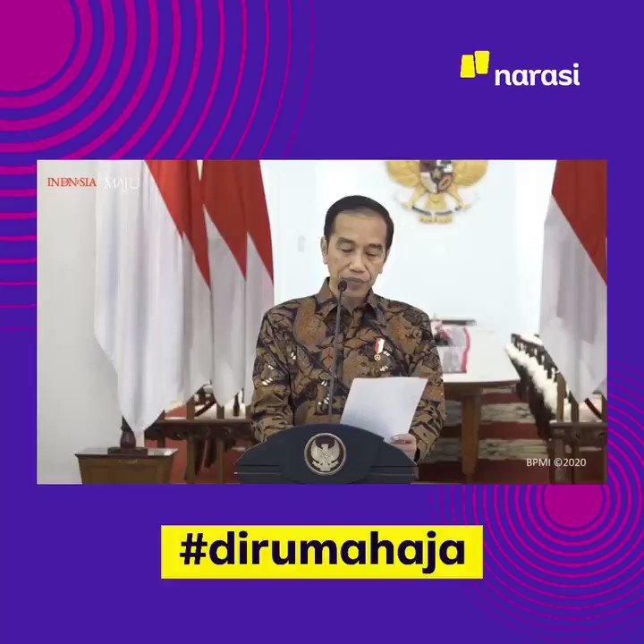 """Replying to @narasitv: """"Saatnya kita kerja dari rumah, belajar dari rumah, ibadah di rumah"""" - @jokowi.  #dirumahaja"""