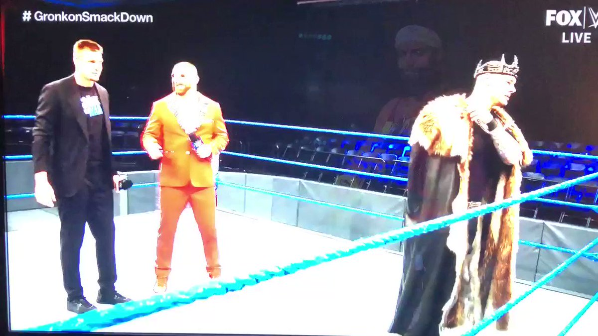 Here's @RobGronkowski dancing on WWE SmackDown with no fans in the arena in a truly bizarre scene.