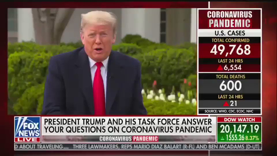 """Trump says if states want the federal government to be a good partner to them in fighting coronavirus, """"they have to treat us well."""""""