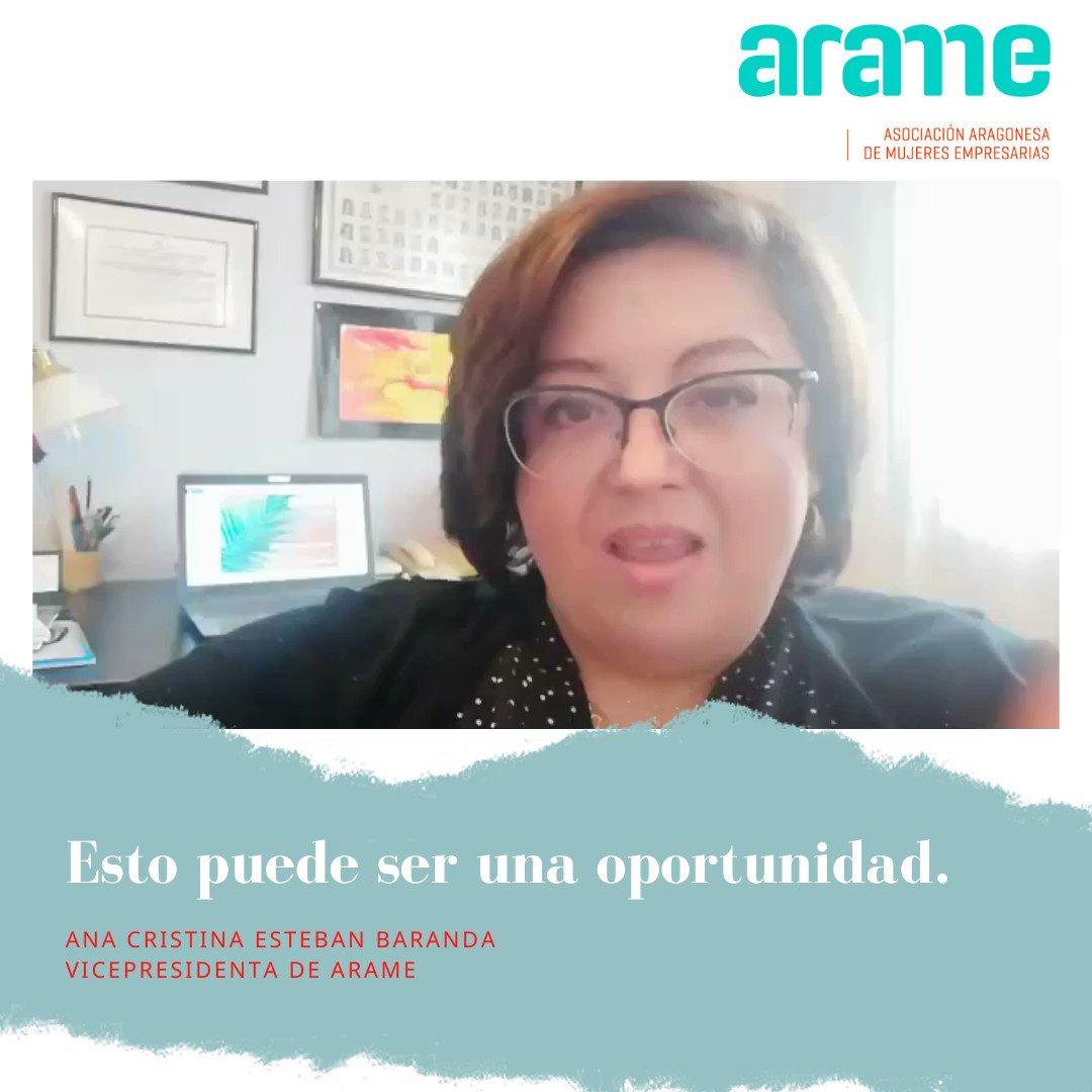 ✨👭🏼 Ana Cristina Esteban Baranda, @anacesteban , Vicepresidenta de ARAME, nos transmite fuerza y positivismo en estos complicados días.  Juntas saldremos de ésta. 💪  #Todosaldrábien  #mujeres #mujeresempresarias #arame #aragon #quedateencasa #empoderamientofemenino https://t.co/W7GtuH51HC