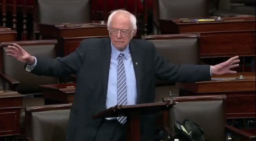 While Joe Biden mangles the English language beyond all known recognition, Bernie is doing this to Lindsey Graham & Co. on the Senate floor:  #WednesdayMotivation #stimulusbill