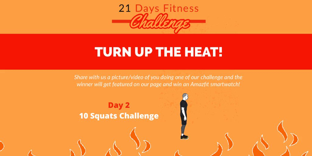Day 2 is here!   With our #21DaysChallenge for fitness, let's make this quarantine healthier!  Challenge for Day 2 is 10 Squats. Get your fitness on and let's do this!   #Fitness #StayAwareStaySafe #StayHomeStaySafepic.twitter.com/1Bx3EKAexw