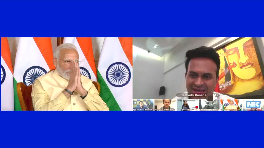 The feeling when @PMOIndia @narendramodi ji says that Im always smiling & khulke is amazing!Glad u felt my chat touched ur heart & feel blessed that u used my example of 'Talking to kids as the present & future of India' to summarise the video conf! Entire nation & I are with u