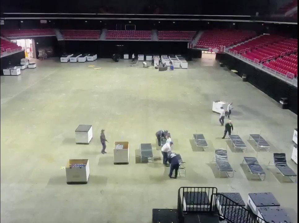 Work has started in the @LiacourasCenter to prepare the space for use as a SURGE facility for @FEMA.