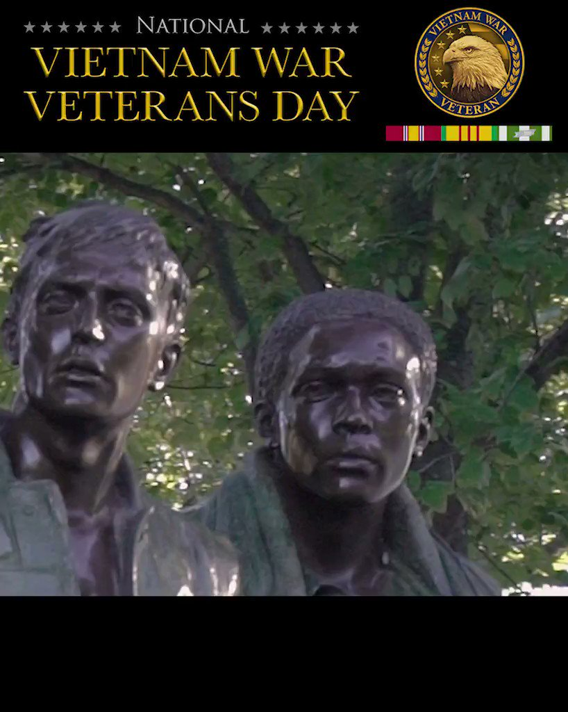The Three Servicemen Statue was unveiled on Veterans Day 1984. The three men in Frederick Hart's statue stand seven feet tall on a one foot tall base facing the Vietnam Veterans Memorial Wall. On National Vietnam War Veterans Day, VA honors the brave men and women who served.