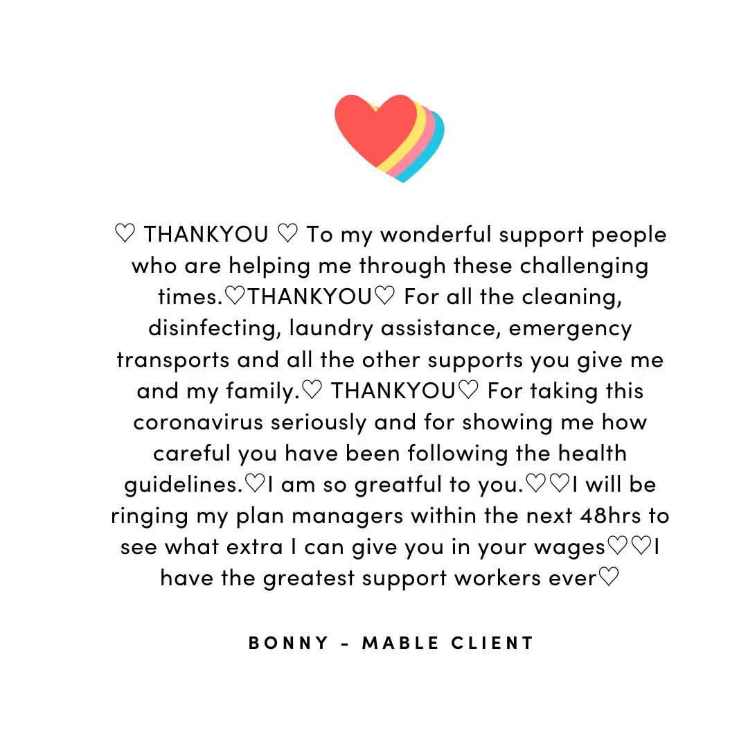 Mable client Bonny gave a shoutout this week to her amazing support team.  #supportworker #covid19 #EssentialWorkers https://t.co/LyIQFYIrjN