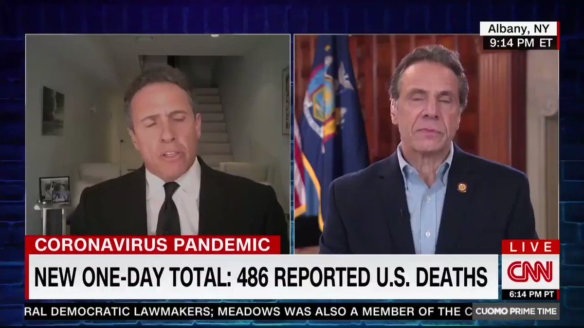 CHRIS CUOMO: You shouldn't criticize yourself that you're not one of the people that mom saw as worthy to teach how to cook and make tomato sauce.  …  ANDREW CUOMO: Where are you physically?  CHRIS CUOMO: I'm in my basement.  ANDREW CUOMO: You spend a lot of time there, right?