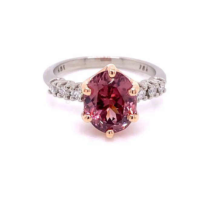 The new two-tone 18k rose and white #gold #diamond and lotus garnet ring is a beauty. The open nature of the setting really shows off this lotus #garnet!  #llynstrong #llynstrongfinejewelry #strongpersonality #jeweler #localartist #jewelryartist #designer