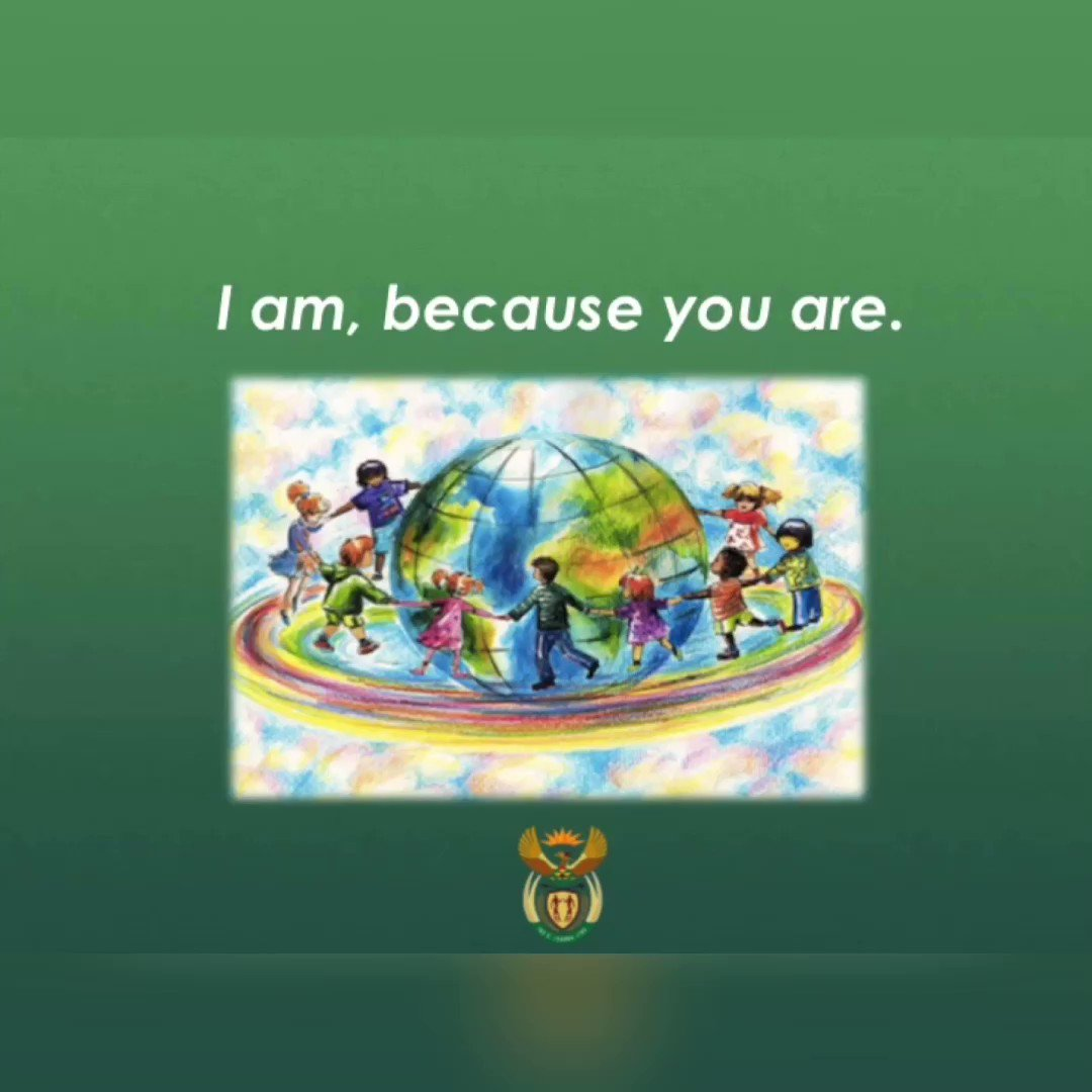 I am, because you are. Lets embrace social solidarity by taking care of eachother in this time that asks of us to be physically apart. Together, we shall overcome  #SocialSolidarity #Ubuntu #Stayathome @DIRCO_ZApic.twitter.com/QSrL7aEFAa