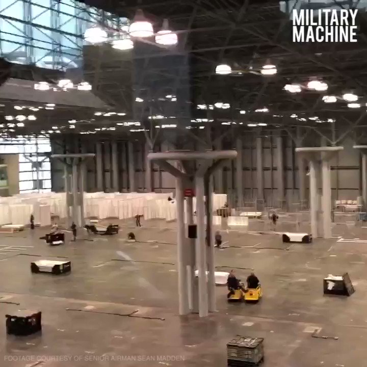 NEW YORK CITY, N.Y. - More than 2,000 New York National Guard Soldiers and Airmen are on duty in Manhattan, converting The Javits Convention Center into a temporary medical facility to ease the bed shortage of New York hospitals. #NewYork  #NationalGuard  #MilitaryMachine   Respect!