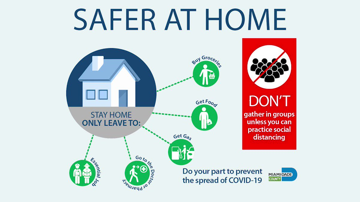 Everyone in #OurCounty is #SaferAtHome and that includes you. Help #FlattenTheCurve by staying home. Get the latest updates at miamidade.gov/coronavirus.