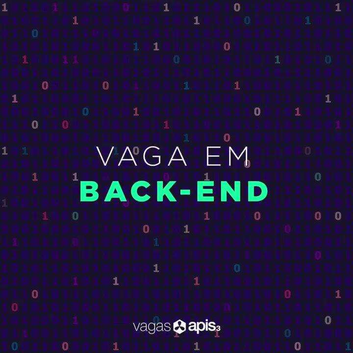 """#Vagasapis3 #Dev  Nas últimas semanas 2 novas pessoas no time e novos clientes na apis3.Você é Dev back-end e está buscando trabalho? Envie seu CV e portfólio para nós para o email rh@apis3.com com CV e pretensão salarial. Título: """"Vaga Back-End"""".  #BackEnd #VagaDeEmprego #apis3pic.twitter.com/vZmClFAYLv"""