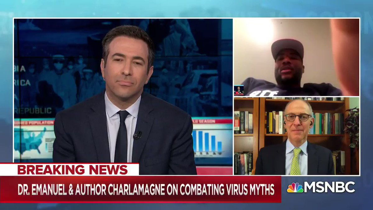 .@cthagod on @MSNBC with Former Health Adviser for the Obama Administration Dr. Emanuel discussing how to combat coronavirus myths and misinformation. bit.ly/346VI0k