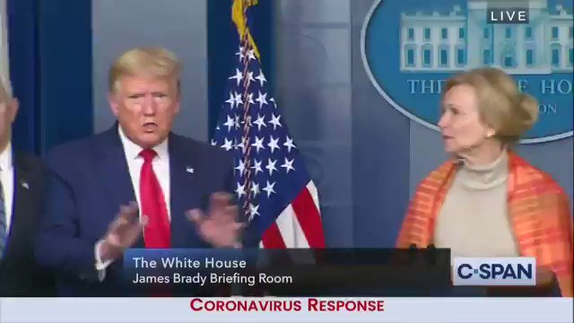 """This is the  President* of the United States of America in the middle of a press conference about the worse pandemic that has hit our nation, while thousands are dying  """"I was never involved with a model- at least not one like this""""  *Impeached  #wtpTEAM"""