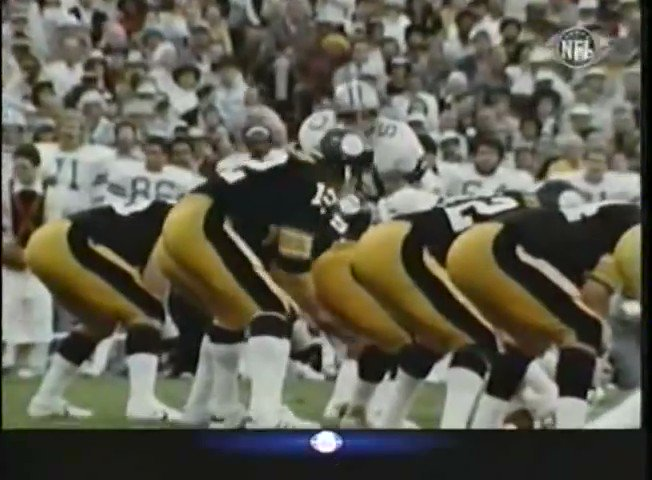 Pittsburgh drives down the field, setting up a Bradshaw to @RockyBleier TD pass. Rocky makes an incredible catch for the TD