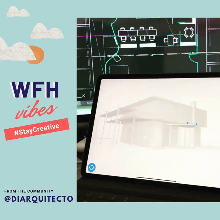 Designing homes 🏠 while working from home 🤯 by IG: @diarquitecto via @arqa.rd. Stay safe, stay creative! #staycreative #3dcad #cad #ipad #ipadpro #wfh