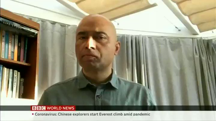 "Working from home!  #BBC World interviews me on my piece ""#Everest seeing only Chinese climbers this Spring season due to Coronavirus-related restrictions by #China while #Nepal suspends all climbing permits."""