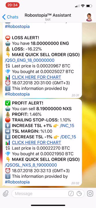 📢 #Robostopia Smart #CryptoCurrency Trader Bot for #Binance and #Bittrex ✅ Trailing Stop-Loss, Buy or Sell #altcoins / BTC pairs. ✅ Auto Renew Orders ✅ Profit / Loss notifications by transactions. ✅ Completed Order notifications and many more.. 👉