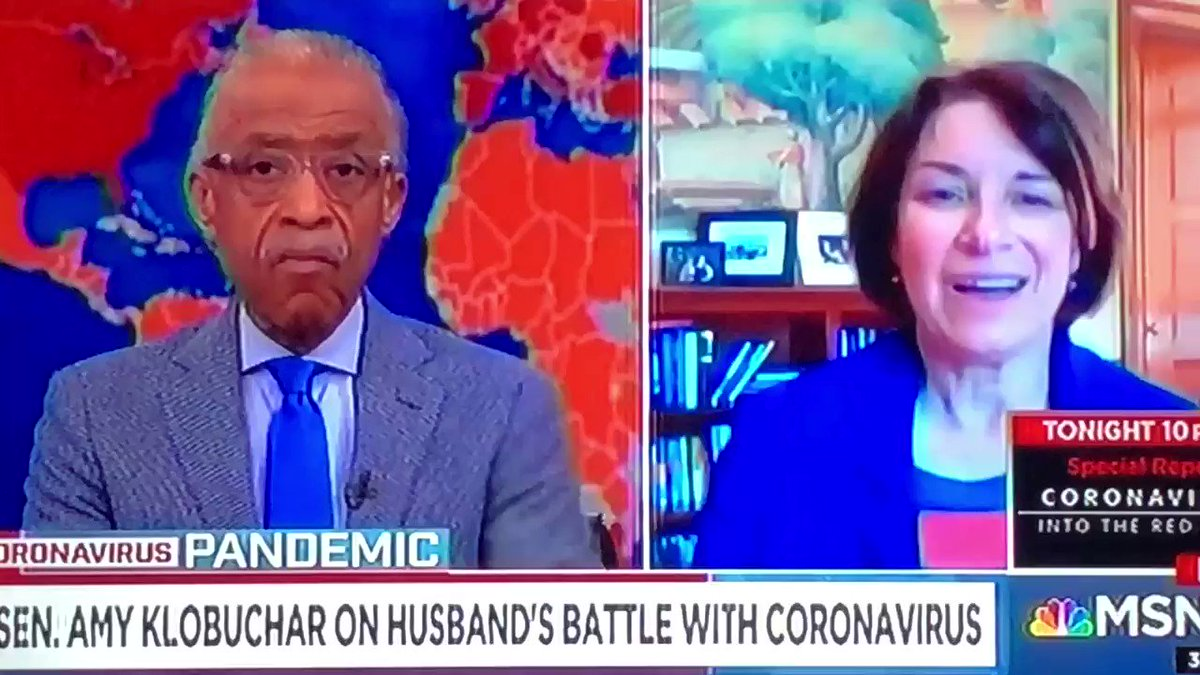 Senator Amy Klobuchar joins me on #PoliticsNation, here she shares about her husband's recent bout with coronavirus.