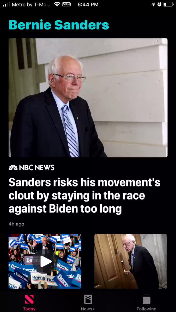 """Opened my news app and started scrolling down the news feed. When I came across the """"Bernie Sanders"""" section, I was pretty blown away. I mean I know the MSM hates Bernie and is nothing but corporate propaganda but holy shit, look at EVERY SINGLE HEADLINE. #CorporatePropaganda"""