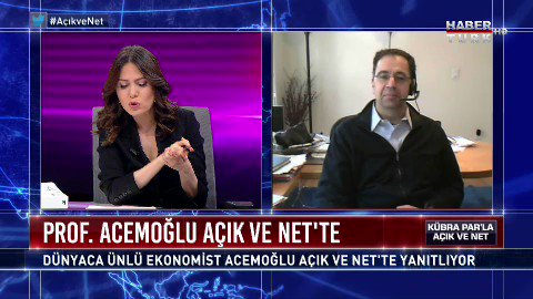 """Ekonomist Prof. Daron Acemoğlu ile konuştum: """"Korona bugüne kadar görmediğimiz bir kriz getiriyor. Büyük bir işsizlik ve finansal problemler olabilir. Fakat doğru kararlar sayesinde 1 sene içinde buradan çıkabiliriz"""" diyor #AcıkveNet @HaberturkTV"""