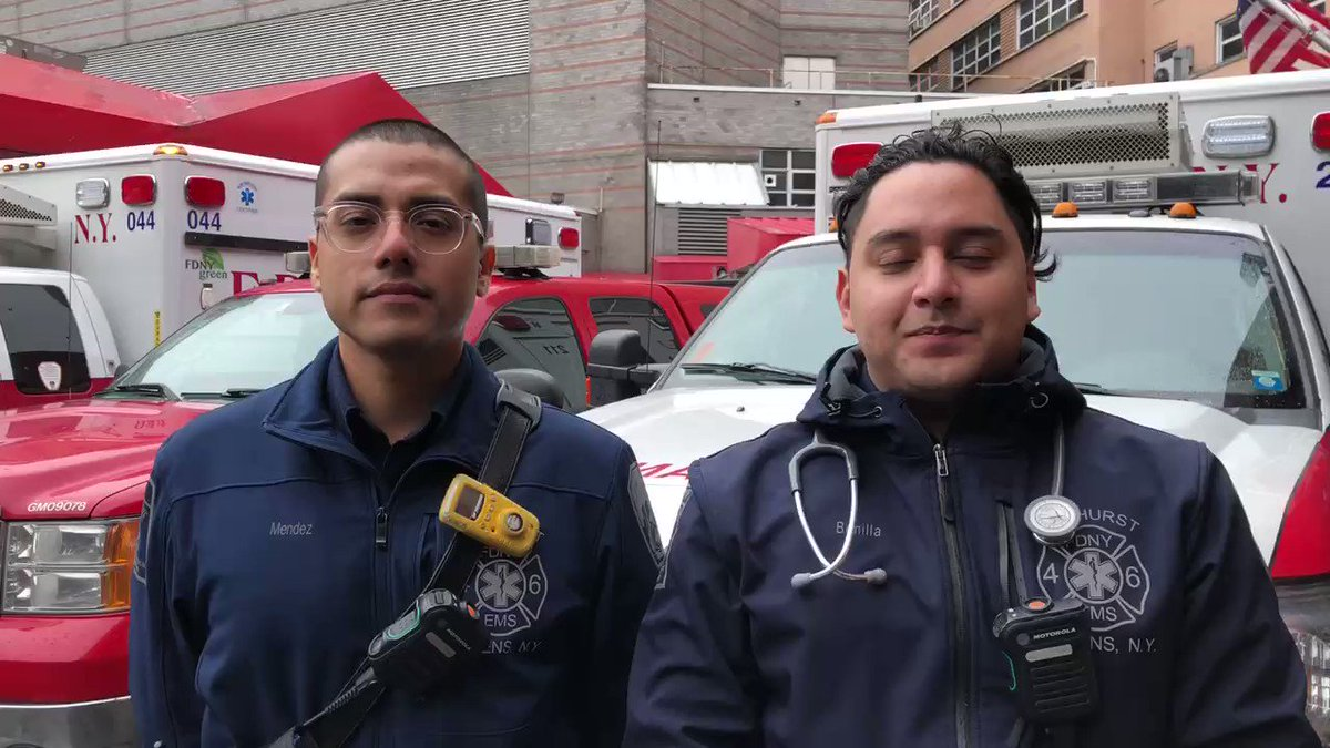 A message from EMTs Mendez and Bonilla at #Station46 in Queens, who are two of thousands of EMS members serving on front lines of the city's response to COVID-19. Read more: