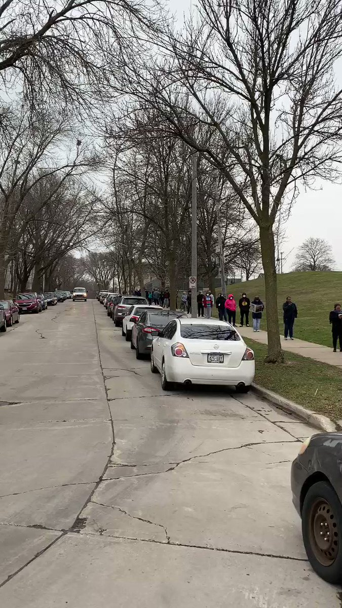A voter just sent me this video of the line outside a polling location at Riverside High School in Milwaukee