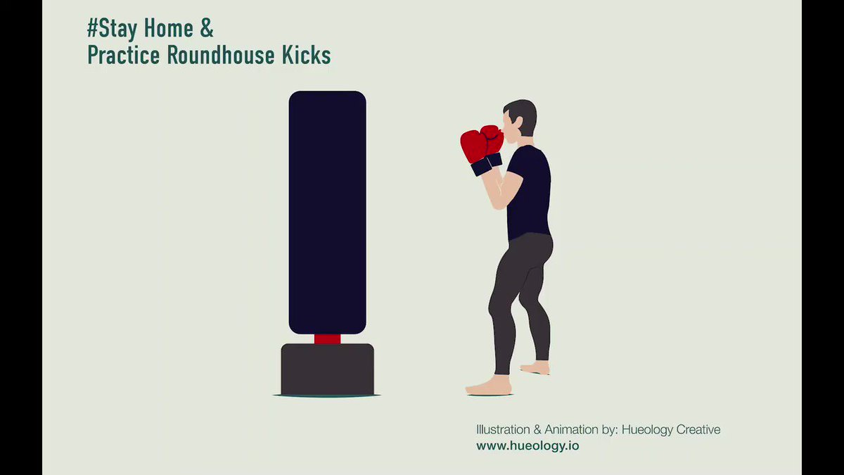 Stay home and practice roundhouse kicks. #StayHomeStaySafe #StayHomeSaveLives #illustration #Illustrations #graphicdesign #graphicdesigner #seattlecovid19 #animation #Animations #motiongraphics #motiondesign #aftereffects #kickboxing #workout #WorkoutsAtHome
