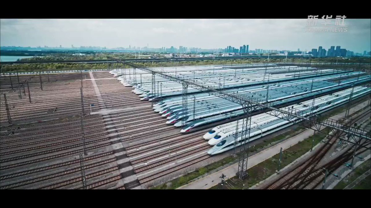 High-speed trains at a maintenance center in #Wuhan are ready to resume services.